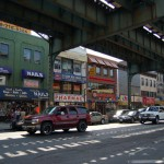 Broadway, Shaded by the elevated JMZ train viaduct