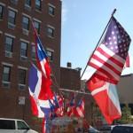 Flags (Dominican Republic, Puerto Rico, U.S.) on Moore Street