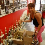 Trophies lined up inside NY Trophies